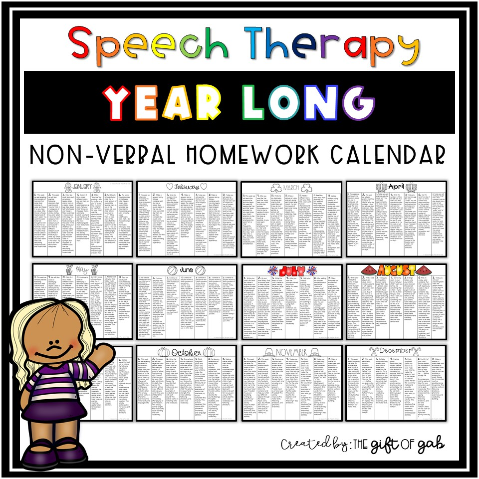 Year Long Nonverbal Speech Therapy Language homework activities