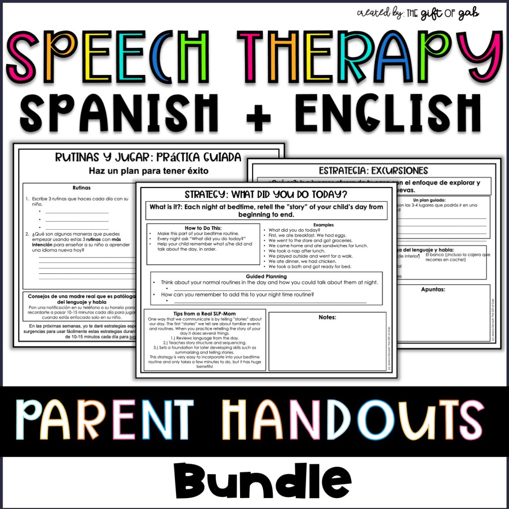 Speech Therapy Early Intervention Parent Hnadouts