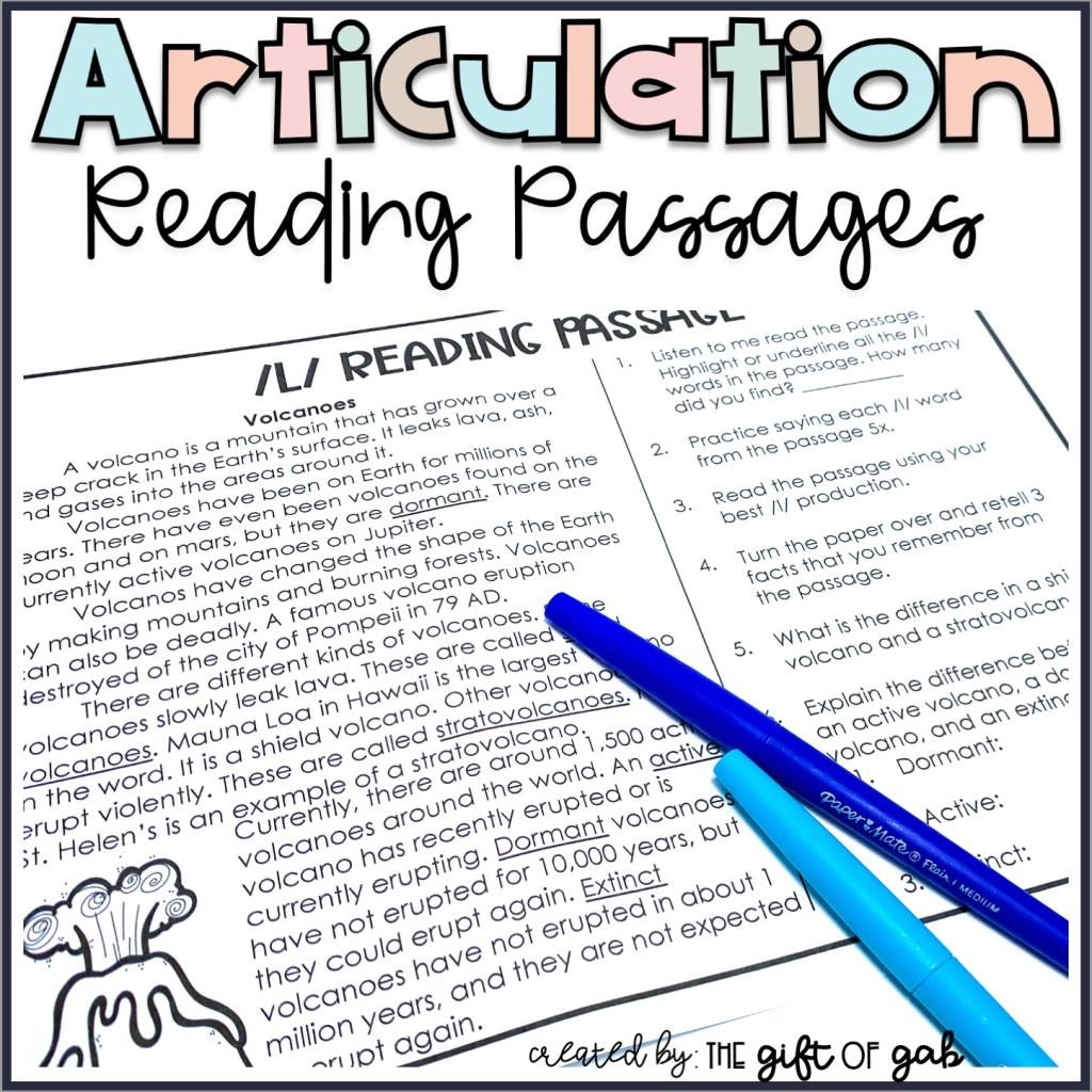 Articulation Reading Passages