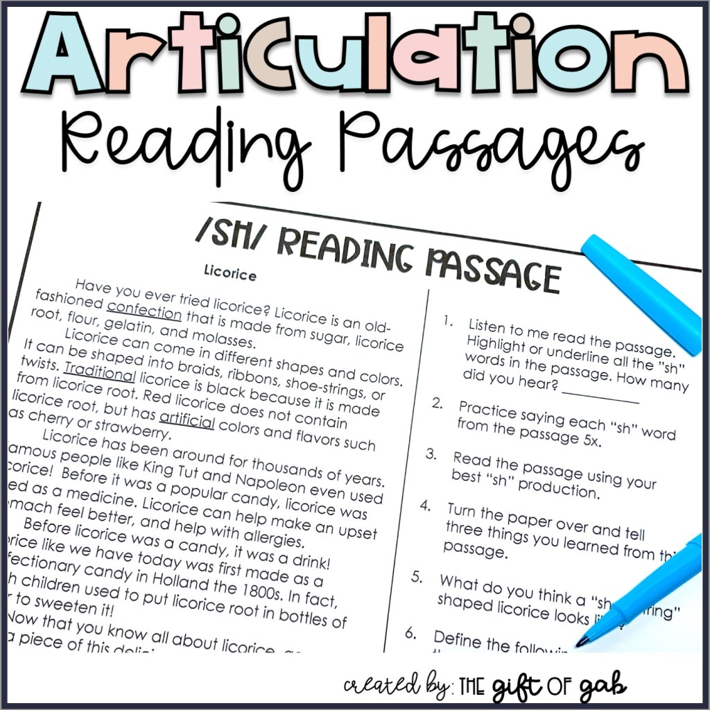 Articulation Reading Passages for Older Students