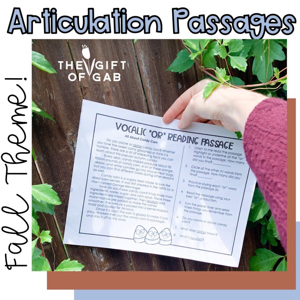 Fall themed articulation activities