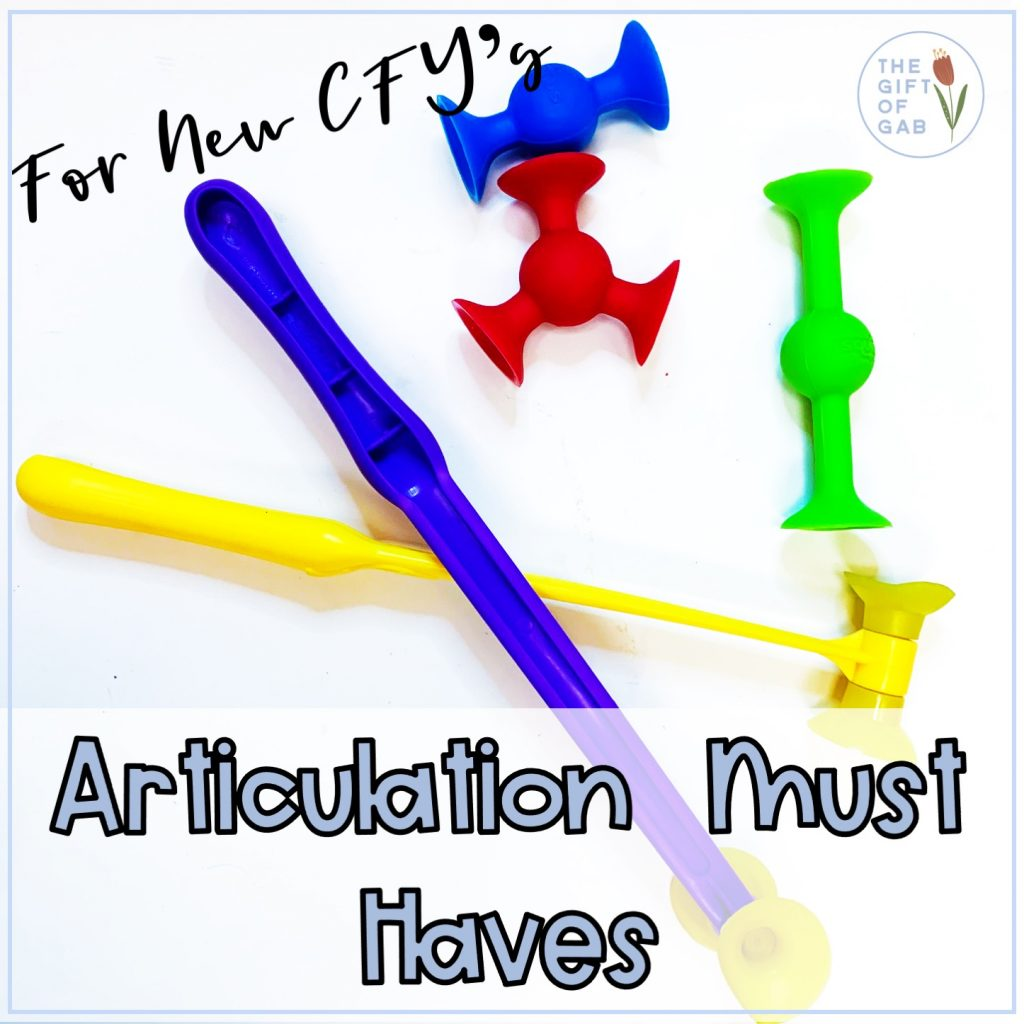 Must have articulation materials for new speech therapy CF's