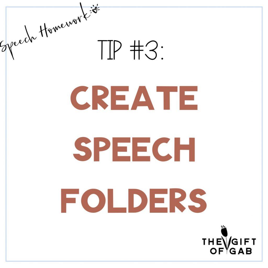 Ideas for Speech therapy homework folders
