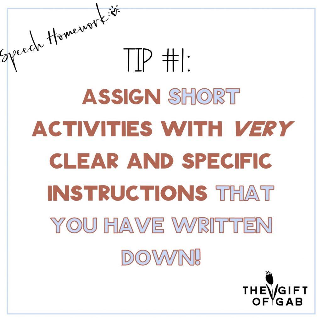 Easy speech therapy homework ideas